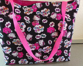Hello Kitty, Reusable Farmers Market / Grocery / Gift / Shopping Bag / Tote