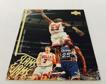 1995 Michael Jordan Upper Deck Slams and Jams collectors card NBA basketball Chicago Bulls era