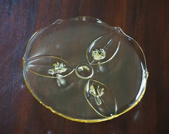 Stunning Vintage Lancaster Topaz  Petal Design Cake Stand/ 1940s Glass/ Depression Glass Footed Plate/ Three-toed Plate #1831/7