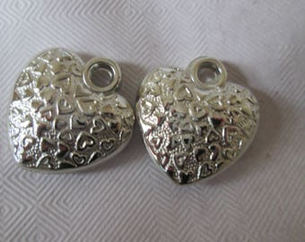 set of 4 small heart shaped Silver Star charms
