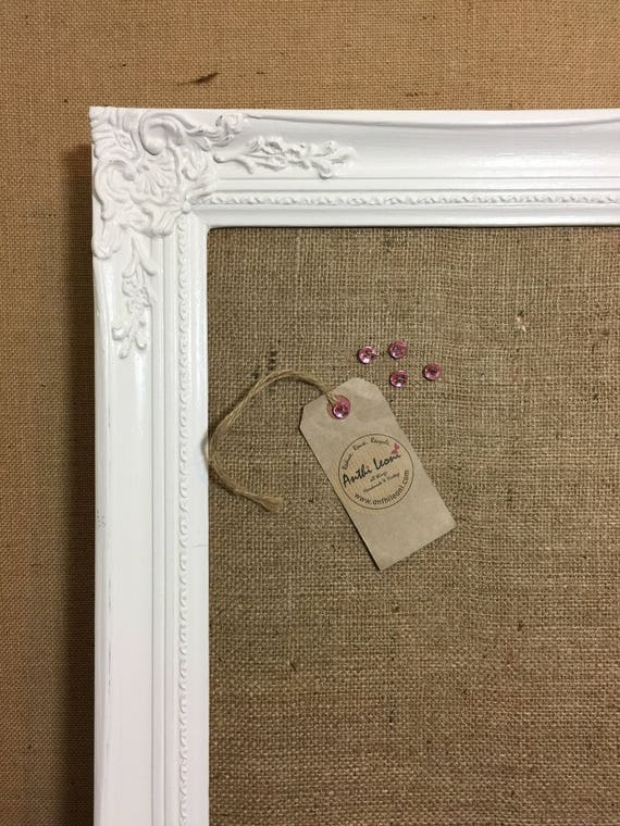 Framed WEDDING TABLE PLANNER - Extra Large Shabby Chic Hessian Pin Board | Cork Board | Burlap Board | Notice Board | Large Vision Board