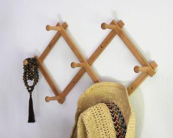 Vintage Bamboo Wood Accordian Peg Rack Wall Hook