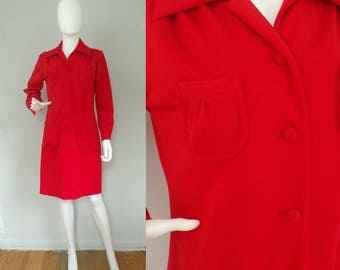 Vintage 70s Sears Red Dress, Long Sleeve Dress, Button Front Dress, Red Dress, Sears Dress, Evening Dress, 70s Dress, Size 12 Dress