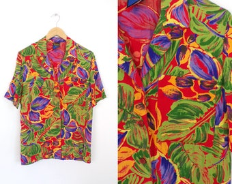 Tropical Print Blouse, Short Sleeve Hawaiian Blouse, Red Green Purple Print, Button Front, 90s Vintage Floral Blouse Resort Wear Medium