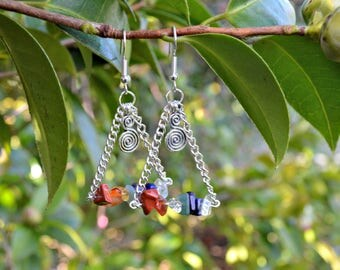 Chakra Silver Chain Spiral Earrings
