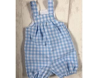 Boys Gingham Romper Babies Romper Boys Romper Boys Romper Romper suit All in one Suit Baby Blue Gingham Romper