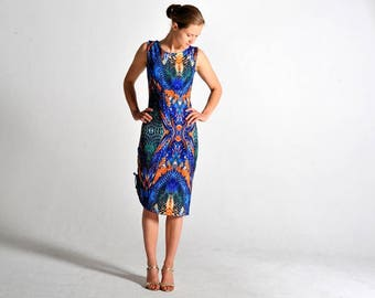 MAXIMA Tango dress in abstract print - sizes XS/S/M