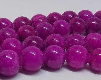 "Purple Marbled 10mm Round Glass Beads (16"" Strand)"
