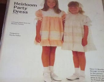 Vintage MARTHA PULLEN PATTERN Heirloom Party Dress Sizes 12 Months to Size 10 Uncut