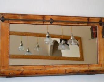 Restored wooden window door with mirror