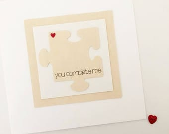 Handmade personalised love jigsaw card // Personalized love card // Happy birthday // I love you