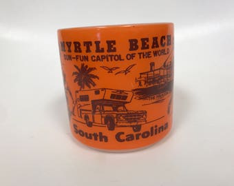 Vintage Myrtle Beach federal glass coffee mug fun-sun capitol of the World