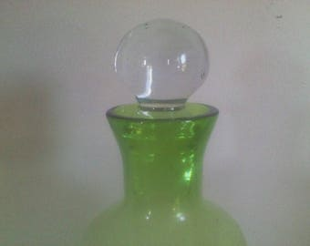 Mid Century Green Glass Decanter