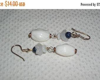 Sale Hippie Chic Handmade Milky White Blue Flower Glass Bead Drop Dangle Stainless Steel Earrings