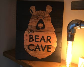 Bear Cave Wooden Poster
