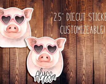 Fancy Pig Customizeable Diecut Sticker, Animal Diecut, Travelers Notebook Diecut, Planner Stickers, Planner Diecut
