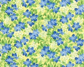 Moda SUMMER BREEZE V Quilt Fabric By The 1/2 Yard - Yellow 33301 12