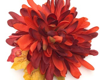 Handmade Dark Orange Chrysanthemum Hair Flower Clip