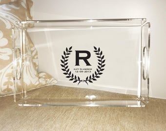 """Monogrammed Acrylic Serving Tray (""""Engaged"""") - FOUR SIZES!"""
