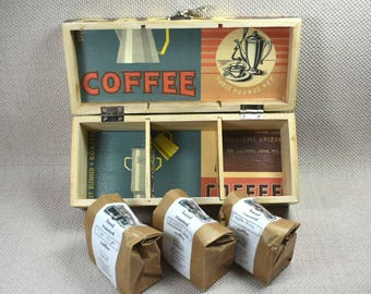 Personalised Coffee Box includes 3 packs of freshly ground Coffee