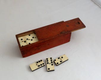 Antique Dominoes Complete Set Double 6 French 1800s Dominoes Ebony Bone ( Ref no A273 )