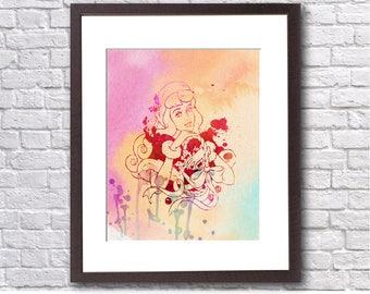 "Aurora Christmas watercolor ,8""x10""  JPEG & PDF file , Inspirational Quote, Digital Prints,Wall Art Prints, Digital Download"