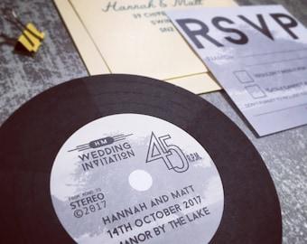 record invitation | etsy, Einladungen