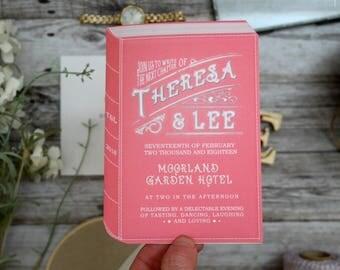 Book wedding stationery, book wedding invitations, literary wedding invitations, book jacket invitations, book wedding, library wedding