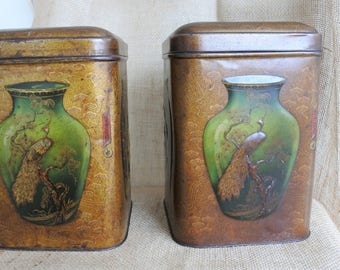 Chinese Chinoiserie Style Tea Tins 1920's