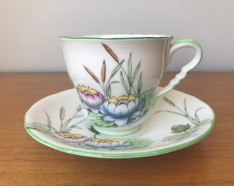 Royal Stafford Water Lily Vintage Teacup and Saucer, Hand Painted Blue Lake, Reeds, Green Grass & Waterlilies Tea Cup and Saucer, Bone China