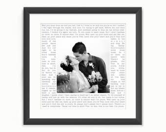 Wedding Song Lyrics Photo Print or Vows - Square Custom Personalised Wedding Photo Art - Anniversary/Valentine's Day Gift - Digital Download