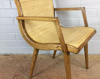 Oak Slipper Side Chair with Cane Sling