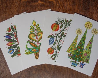 Christmas card assortment, 4 for price of 3, gift, holiday greeting card, note card, botanical, handmade card set, Christmas tree series