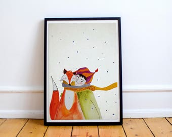 Cute girl with her fox friend watercolor illustration, childrens room decor, wall hanging, nursery decor, baby shower gift