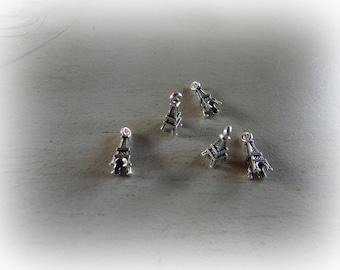 5 charm Eiffel Tower silver plated 16 * 6 mm