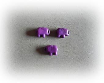 3 elephant beads 15 * 10 mm purple howlite