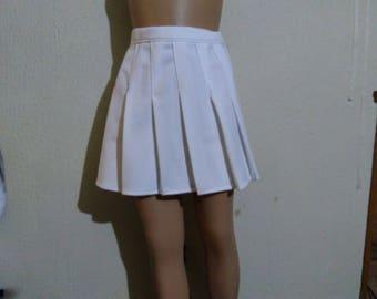 Cheerleader White Pleated Skirt Uniform Football Game Sports Costume Cosplay NEW