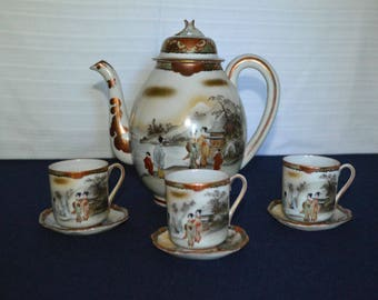 Vintage Japanese Imari Teapot with 3 Demitasse Cups with Saucers