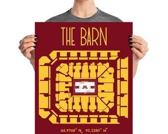 University of Minnesota The Barn Basketball Stadium Poster Print
