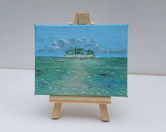 Remote Island Miniature Oil Painting with Easel