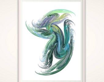 Abstract PRINTABLE Art, Abstract Print, Modern Wall Art, Blue Green Print, Abstract Art Prints, Modern Prints, Brush Art, Poster, Wall Decor