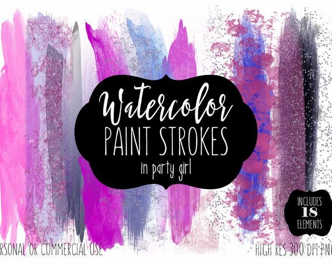 HOT PINK WATERCOLOR Brush Strokes Clip Art Commercial Use Clipart Watercolour Paint Blog Header Purple Blue Confetti Shop Logo Graphics