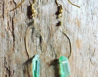 Mini green quartz oval earrings