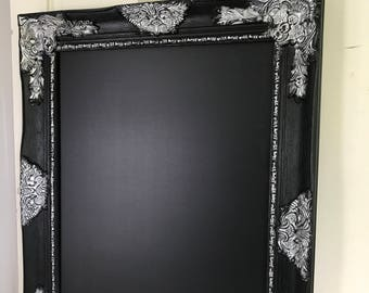 Silver and Black Chalkboard, Ornate Frame, Hollywood Regency, Wedding Sign, Menu Sign, Childrens Room, Memo Board