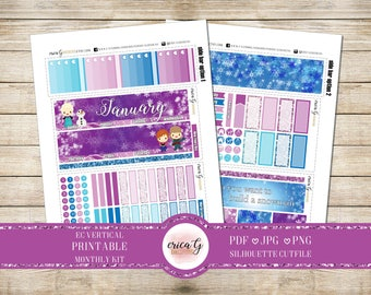 PRINTABLE MONTHLY KIT: Ice Princess/Erin Condren/Printable/Digital/Monthly Kit