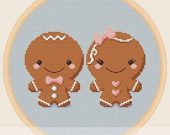 Gingerbread man and gingerbread lady - Cross stitch pattern