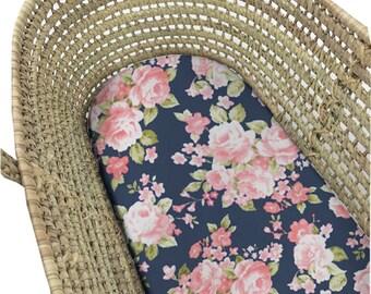 Moses Basket Sheet Pink Lemonade. Bassinet Sheet Floral. Moses Basket Sheet. Bassinet Sheet. Bassinet Sheet Girl. Girl Bassinet Bedding.