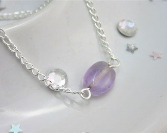 Amethyst Mini Purple Bead Necklace on 18 Inch Silver Plated Chain, Tiny Purple Necklace, Oval Amethyst, Girlfriend, February Birthstone