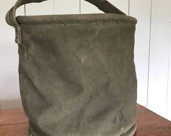 Vintage US Army Canvas Bucket Bag Olive Drab