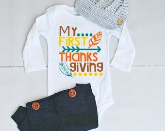 My 1st Thanksgiving Outfit - Thanksgiving Outfit for Baby Boy - Thanksgiving Onesie® for Baby Boy - Baby's First Thanksgiving Outfit